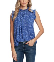 cece floral-print pleated ruffled top