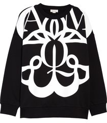 alexander mcqueen women's exploded seal logo sweatshirt, size 12 us in nero natural at nordstrom
