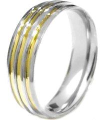 aliança prata mil anatômica abaulada de prata c/ filete de ouro prata