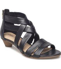 mena silk sandal med klack svart clarks