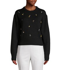 crystal-embellished cropped wool-blend sweater