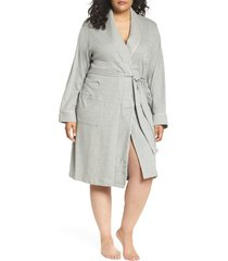 plus size women's lauren ralph lauren shawl collar robe, size 1x - grey (plus size) (online only)