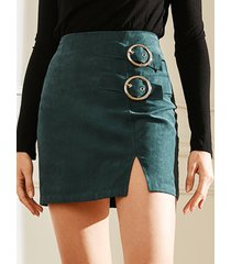 green slit diseño falda de cintura alta