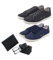 kit 2 sapatênis masculino + carteira slim + cinto - azul/grafite ro02