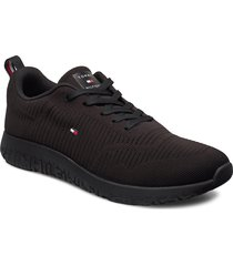 corporate knit rib runner låga sneakers svart tommy hilfiger