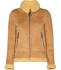 off-white aviator style shearling coat - brown