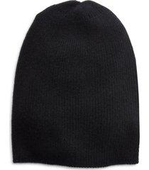 women's halogen ribbed cashmere beanie - black