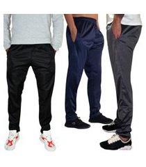 kit 3 calças esportiva ks masculina agasalho cós de elástico bolsos laterais kit-3-0375 multicolorido