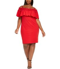 bcx trendy plus size crochet off-the-shoulder bodycon dress