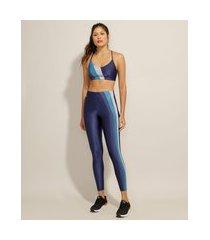 calça legging esportiva ace yoga com listras laterais azul marinho