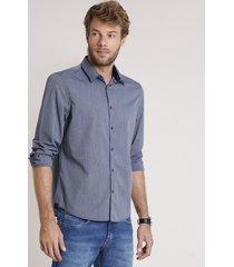 camisa social masculina comfort fit listrada manga longa azul