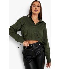 korte blouse met elastische taille en strik, khaki