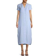 linen button-front dress