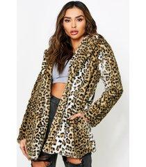 leopard print faux fur coat, brown