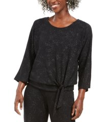 jm collection metallic tie-front top, created for macy's