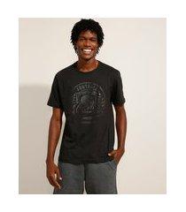"""camiseta de algodão michigan"""" manga curta gola careca preta"""""""