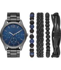 folio men's gunmetal stainless steel bracelet watch 45mm gift set