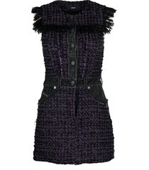 diesel tweed denim-embellished mini dress - black