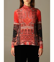 etro sweater etro turtleneck in silk and paisley cashmere