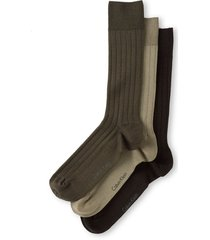 men's calvin klein 3-pack wide rib dress socks, size one size - brown