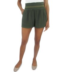 be bop juniors' solid smocked-waist shorts