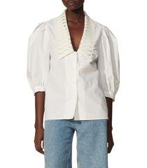 women's sandro lace bishop's collar cotton blouse, size 3 - white