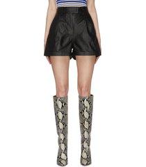 'paola' flared leg leather shorts