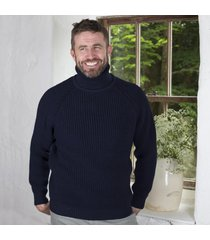 mens roll neck fishermans irish sweater navy medium