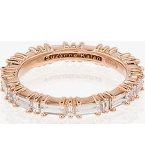 suzanne kalan 18kt rose gold horizontal baguette diamond ring -