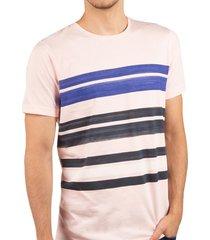 camiseta rayas cuello redondo rosado claro ref. 108010819