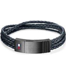 tommy hilfiger men's braided leather bracelet gun metal/navy -
