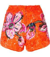 manish arora floral pattern sequin shorts - orange