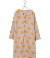 bobo choses peter pan collar graphic print dress - neutrals