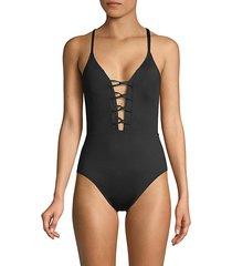 lace-up 1-piece swimsuit