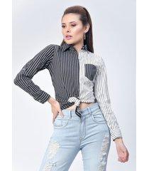 camisa dama blanco y negro di bello jeans  classic blouse ref b212