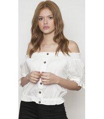 blusa manga corta con botones blanca 609 seisceronueve