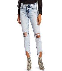l'agence women's acid-wash distressed skinny jeans - calypso - size 30 (8-10)