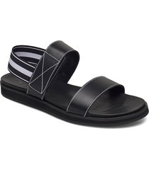 lissy black leather shoes summer shoes flat sandals svart flattered