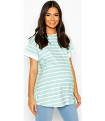 maternity short sleeve stripe t-shirt, sage