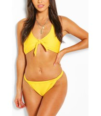 driehoekige bikini met ribboorden, geel