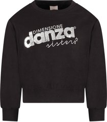 dimensione danza black girl sweatshirt with sequined logo
