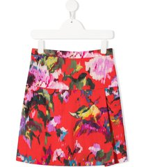 señorita lemoniez spring floral-print skirt - red