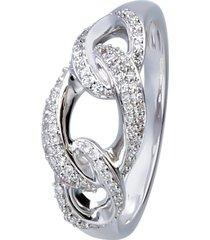 anello in oro bianco con diamanti 0,25 ct per donna