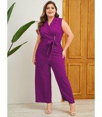 yoins plus talla violeta cinturón diseño sin mangas mono