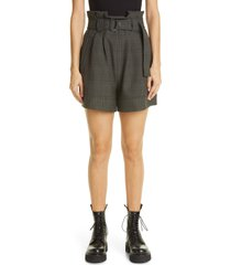 women's ganni glen plaid paperbag waist shorts, size 10 us - grey