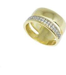 alianca kumbayá joias larga com aparador semijoia banho de ouro 18k com zirconia e rodio