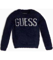 sweter ze sztucznym futrem z błyszczącym logo