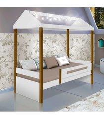 cama solteiro casinha montessoriana com cordão de luz de led casah