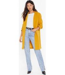 womens suits me just fine longline blazer - mustard