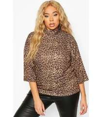 plus leopard 3/4 sleeve boxy fit t-shirt, brown